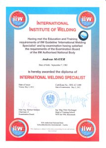 International Welding Specialist Andreas Mayer